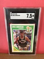 1989-90 Fleer Basketball Greg Anderson #85 SGC 7.5 NM Graded Card BUCKS