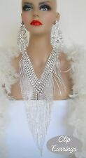 DRAG QUEEN FRINGE SILVER CRYSTAL NECKLACE CLIP EARRINGS PAGEANT STAGE BRIDAL
