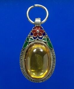 Red Naga Eye Gem Pendant Gemstone Jewelry Charm Lucky Wealth Thai Amulet