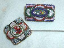 Antique Italian Micro Mosaic Brooch and Pin set