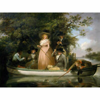 Morland A Party Angling Fishing Boat Painting Extra Large Art Poster
