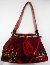 SPENCER & RUTHERFORD crimson / red floral shoulder BAG with embroidered panels