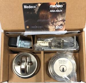 High Security Medeco Single Cylinder Deadbolt Satin Nickel.2-Keys