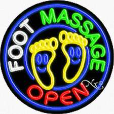 "Brand New ""Foot Massage Open"" 26x26 Round Real Neon Sign w/Custom Options 11145"
