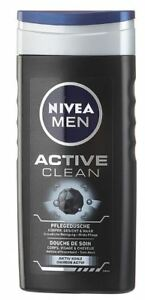 3 x NIVEA MEN SHOWER GEL BODY WASH - ACTIV CLEAN - COSMETIC FROM GERMANY