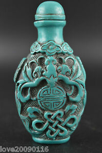 China Superb Turquoise Carve Vivid Bat & Chinese Knot Happiness Snuff Bottle