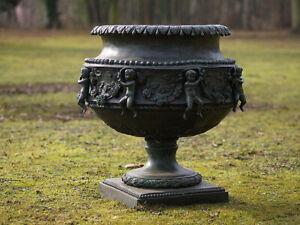 Bronzevase Blumenvase mit Engelmotiv rund Gartendekoration