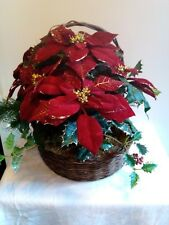 Holiday Poinsettia Silk Flower Open Wicker Basket Floral Centerpiece Arrangement