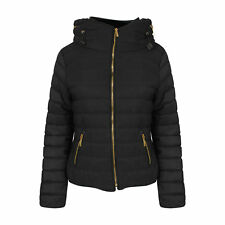 Womens Bubble Puffer Jacket Ladies Quilted Padded Coat Fur Collar Hood Thick Ma1 Black UK (10) Medium