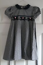 Girls Size 6 Blue white check short sleeve hearts short sleeve Rare Editions