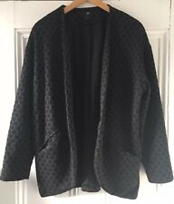 H&M Women's Black Grey Spotted Single-Breasted Lined Jacket M UK 12-14 EU 40-42