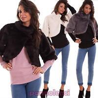 Cappa donna eco pelliccia coprispalle maniche 3/4 cappotto stola nuova 16011