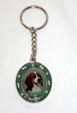 New Beagle Dog Paw Print & Bone Spinning Keychain Key Ring Holder
