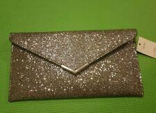 George Silver Metallic Clutch Bag New