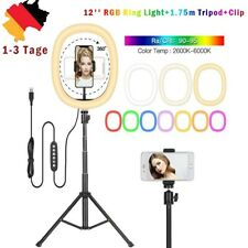 12 RGB LED 1.75M Dimmbar Ringleuchte Ringlicht+Handy Stativ F Live YouTube DHL