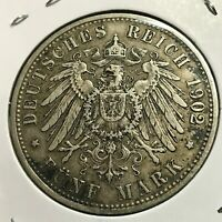 1902-D GERMANY BAVARIA SILVER 5 MARKS CROWN COIN