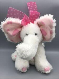 "Russ Berrie ELLIE White Baby Elephant Soft 12"" Plush Pink Hearts Nylon Ribbon"