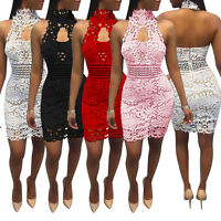 Sexy Woman's Evening Party Cocktail Short Dress Summer Lace Sleeveless Clubwear