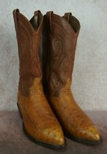 Tony Lama Ostrich Leather Cowboy Boots Cy907 Mens 8.5 D Exotic Made In Usa