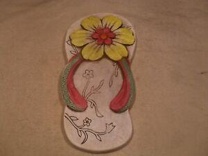 Décor Cement Stepping Stone ~ Left Shower Shoe w/ Flower