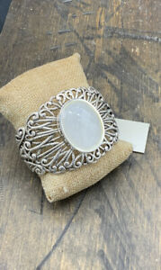 Barse Lace Cuff Bracelet- Snow Quartz & Silver Overlay- NWT