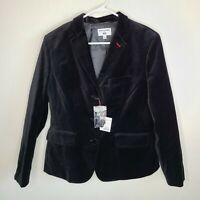 Uniqlo x Ines de La Fressange Black Velvet Blazer HTF Cotton Jacket Size L NWT