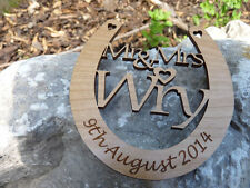 Personalised Mr & Mrs Wedding Horseshoe Wooden: Traditional Lucky Keepsake Gift
