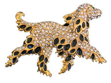 CLEAR RHINESTONE BLACK IRISH SETTER GOLDEN RETRIEVER DOG PUPPY PIN BROOCH 3""