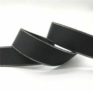 5yards Grosgrain Ribbon Silver Metallic Edge Hair Bow Party Wedding Sewing Craft