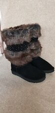 LADIES WOMEN'S BLACK WINTER BOOTS SIZE 6 WARM ENCRUSTED TALL GORGEOUS & STYLISH