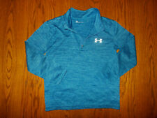 UNDER ARMOUR 1/4 ZIP LONG SLEEVE HEATHER BLUE SHIRT BOYS 7 EXCELLENT CONDITION