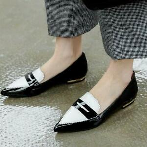 Fashion Women's Pointy Toe Slip On Loafers Leather Walk Shoes Pumps Size