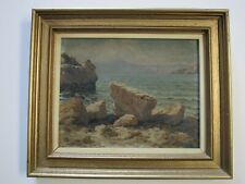 FINEST ANTIQUE JOSEF PISECKI PAINTING NAUTICAL COAST BEACH SEASCAPE CZECH ARTIST