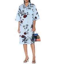 Dries Van Noten Floral Cotton Shirt Dress in Light Blue Size L