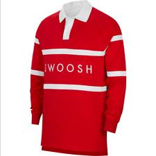 Nike Sportswear Swoosh Rugby Men Long Sleeve Polo Shirt Red White CV0169
