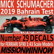 MICK SCHUMACHER 2019 Bahrain TEST FERRARI SF90 1/43 scale water slide DECALS