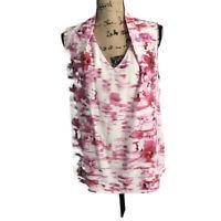 Antonio Melani Women's Floral White & Pink  Sleevless Blouse Sz Large 100% Silk