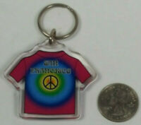 San Francisco Tie Dye Shirt Peace Plastic Keyring Keychain Rare Vintage