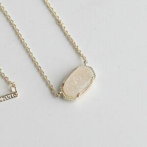 Kendra Scott Elisa Gold Pendant Necklace in Iridescent Drusy New
