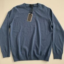 Mantovani Studio Italy Men's 100% Italian Cashmere Crew Neck Sweater- Blue Sz XL