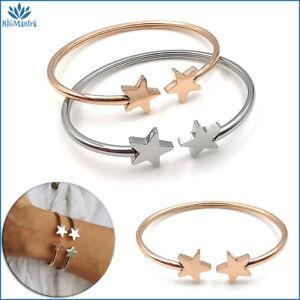 Bracciale da donna rigido con stella stelline in acciaio inox braccialetto per a