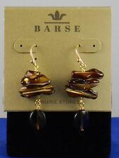 Barse Bronze PEARL OF WISDOM Rainbow Pearl Quartz Drop Earrings DRKBE02MUB