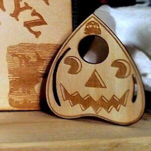 Wooden Planchette - Halloween Jack O Lantern Design - Handmade