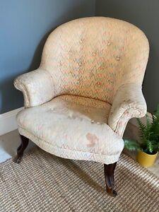 Vintage Button Back Project Arm Chair