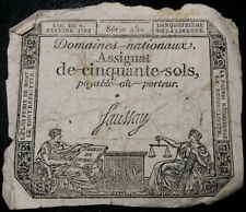1793 (Year 2) 50 Sols FRANCE Domaines Nationaux Assignat Signed Faussay 450