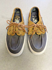 VANS Brown Leather and Blue Canvas Boat Shoes Men's 6.5