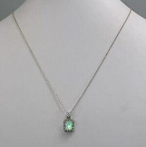 """925 Sterling Silver Faux Opal Moissanite Necklace 18"""""""