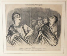 Honore Daumier France 1808 -1879  Lithograph Physionomies Traciques No 7 Framed