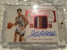 2013-14 Flawless John Stockton Hall of Fame Class 3 Color  Patch Auto (10/15)