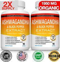 Organic Ashwagandha Capsules 1950 MG - 180 CAPSULE with Black Pepper Root Powder